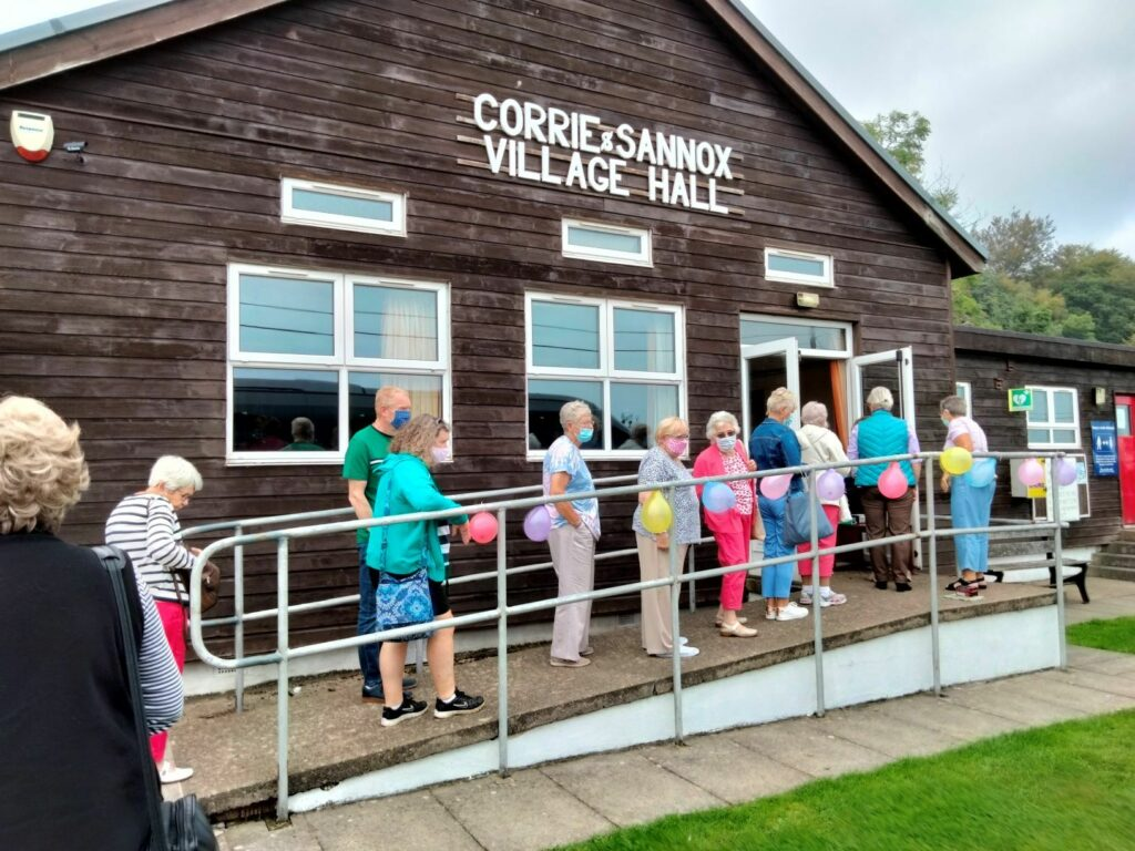The North Yorkshire ladies make their way into Corrie and Sannox village hall.