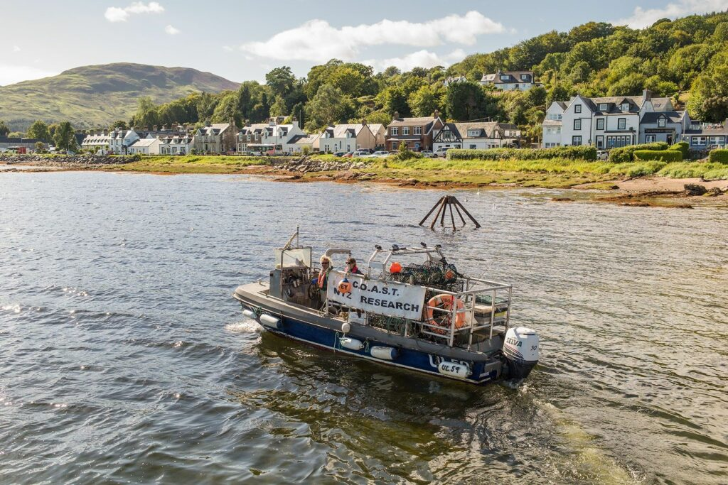 The COAST No Take Zone research vessel pictured in Lamlash Bay. Photograph: Paul Kay.