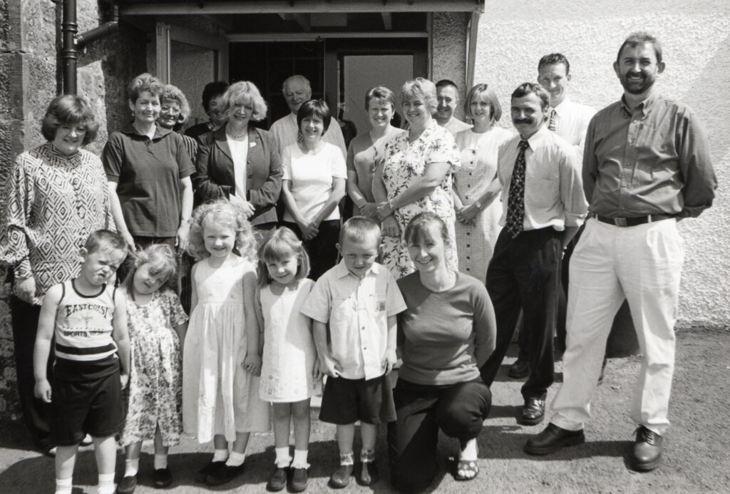 Pictured with local worthies and officials at the opening of Shiskine Primary School's nursery in June 2000, Barbara is joined by nursery pupils Stephen Judge, Jenna Taylor, Lois Crawford, Emma Lawson and John Parkhill.