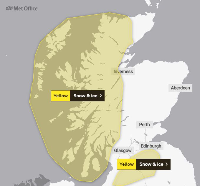 December 1st marked by snow and ice weather warning