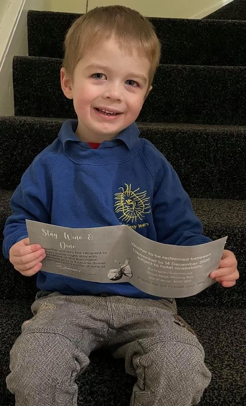 Young fundraiser raises £100 for his nursery