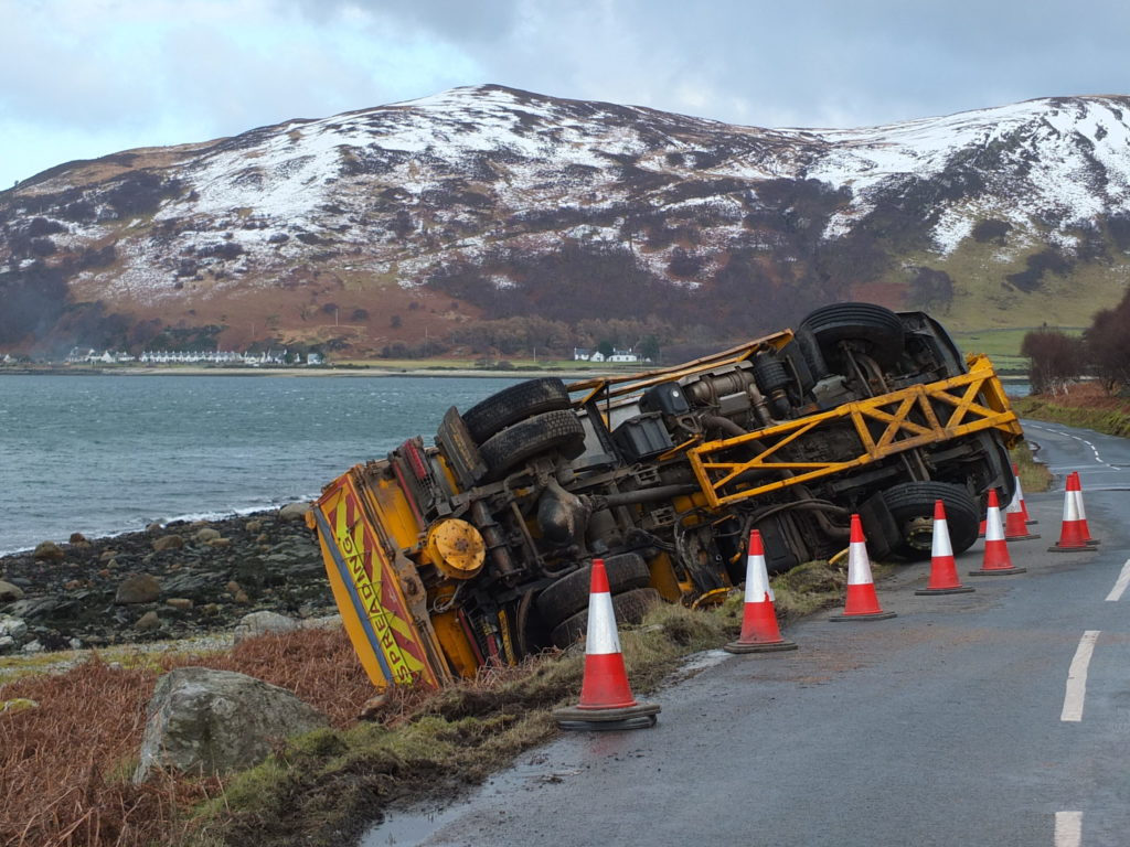 Snowlaf the road gritter falls victim to black ice