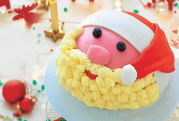 Santa iced christmas cake