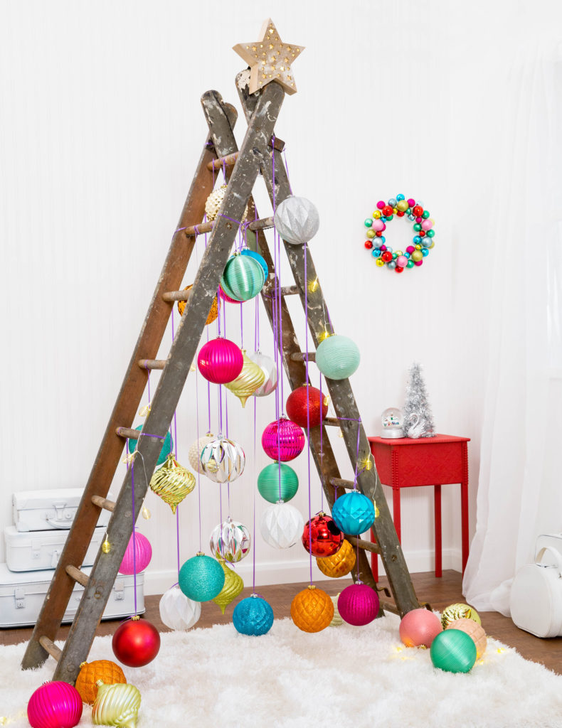 Large baubles on a ladder