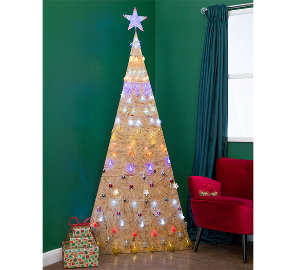 Poundland MDF tree with lights
