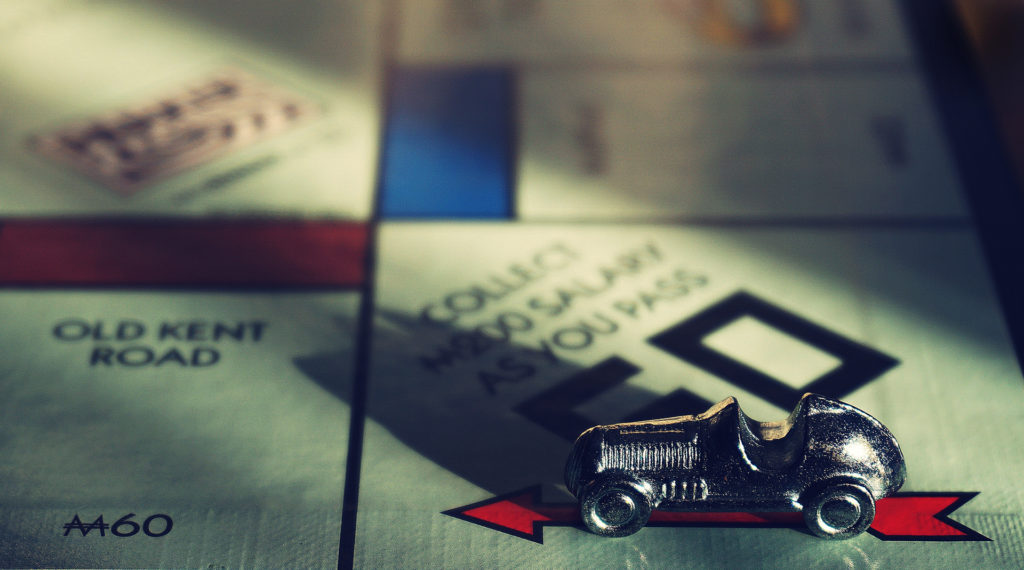 Close up of Monopoly board game