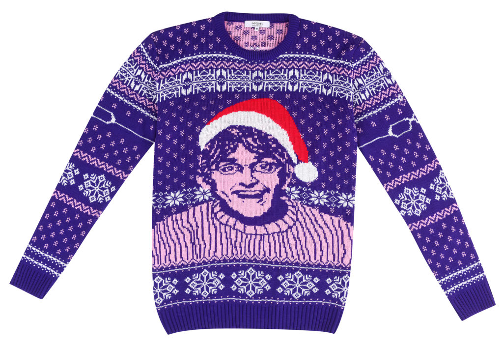 Blue, white and pink machine knitted jumper with Louis Theroux in a Santa hat