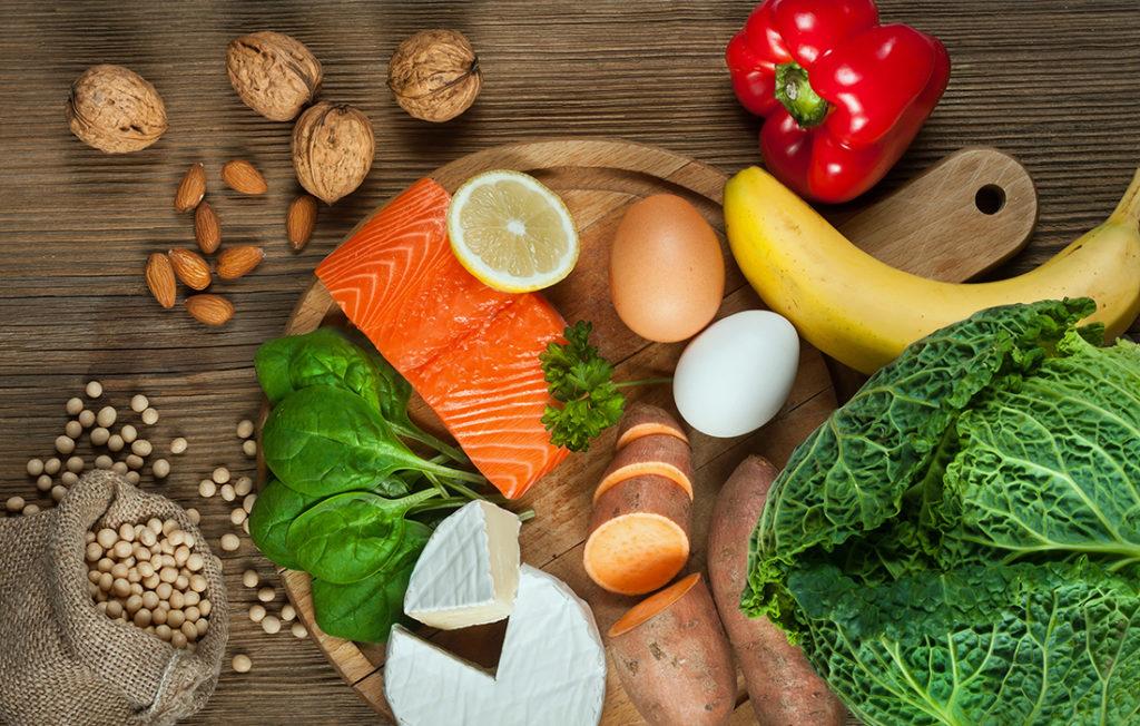Salmon and veg on a platter