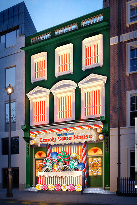 Facade of Candy Cane House