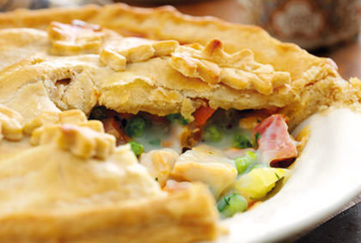 Turkey, vegetable and ham pie, one sixth cut