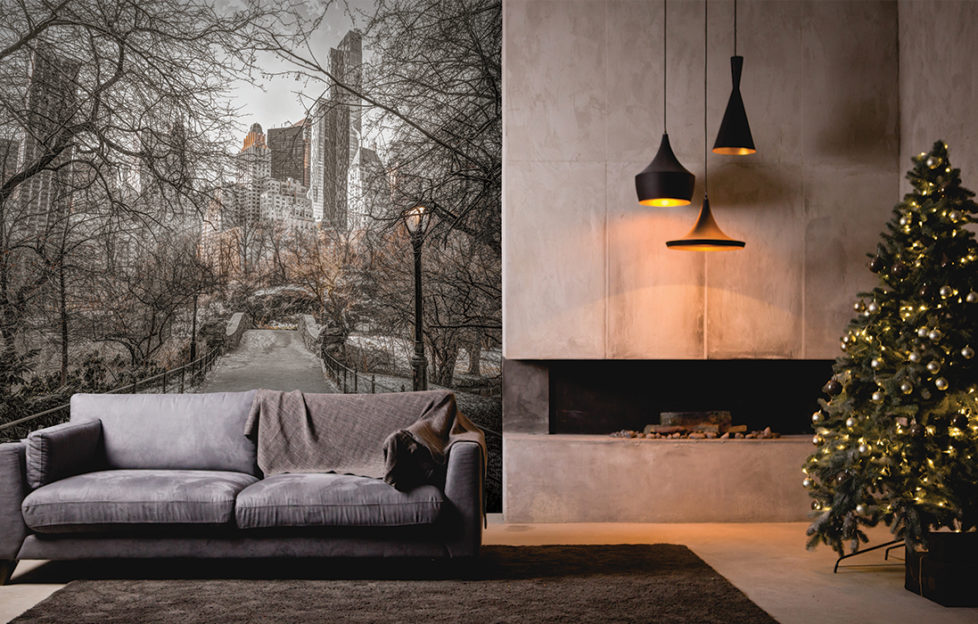 Stylish grey and white interior with photo mural of Central Park, skyscrapers and wintry trees