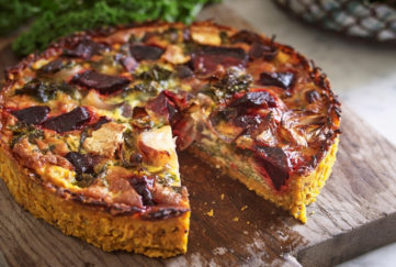 Beetroot Kale and Brie Quiche