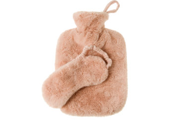 Pink hot water bottle and eye mask
