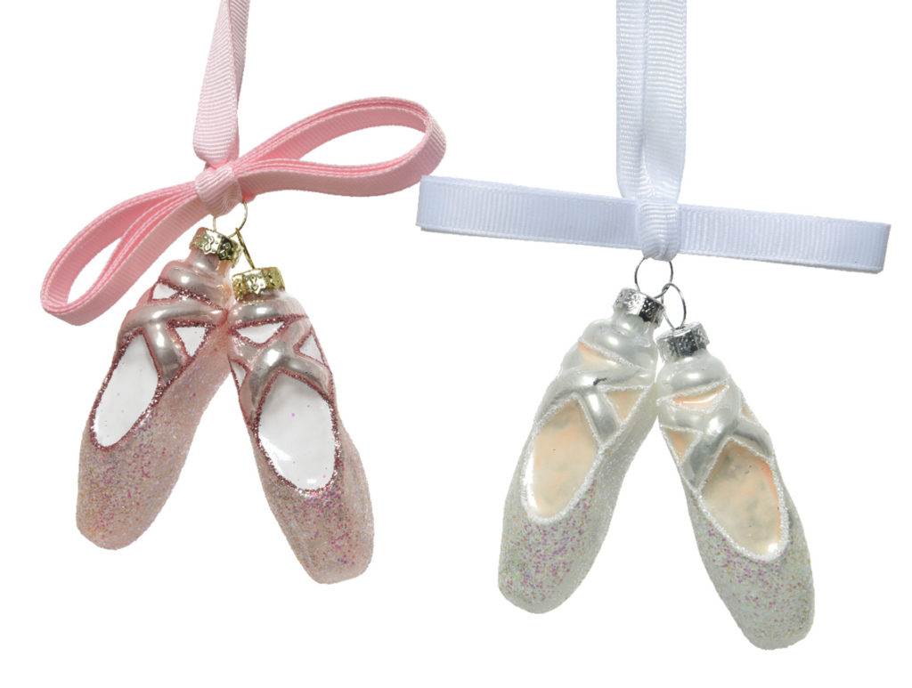 Christmas tree ornaments, pair of glass ballet shoes with ribbon, in pink or white