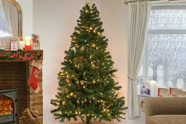 Artificial Christmas tree with lights