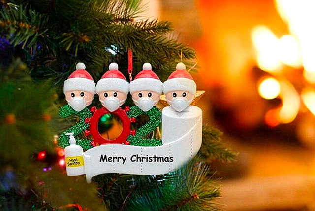 Christmas tree ornament with face masks and hand sanitiser