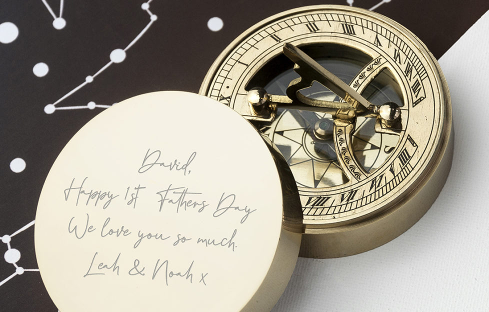 Personalised brass compass gift