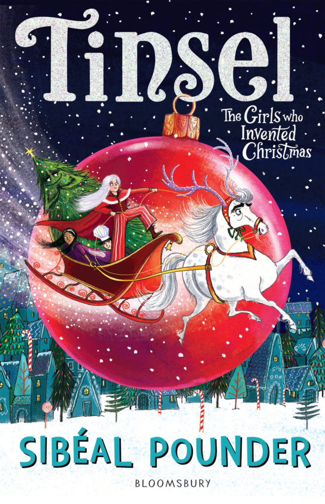 Book cover with illustration of sleigh drawn by a white horse, 2 girls, a boy and a Christmas tree in it, flying past a giant crimson tree bauble