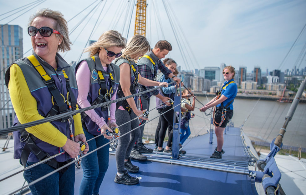 experience days, family in harnesses on top of the O2 Arena
