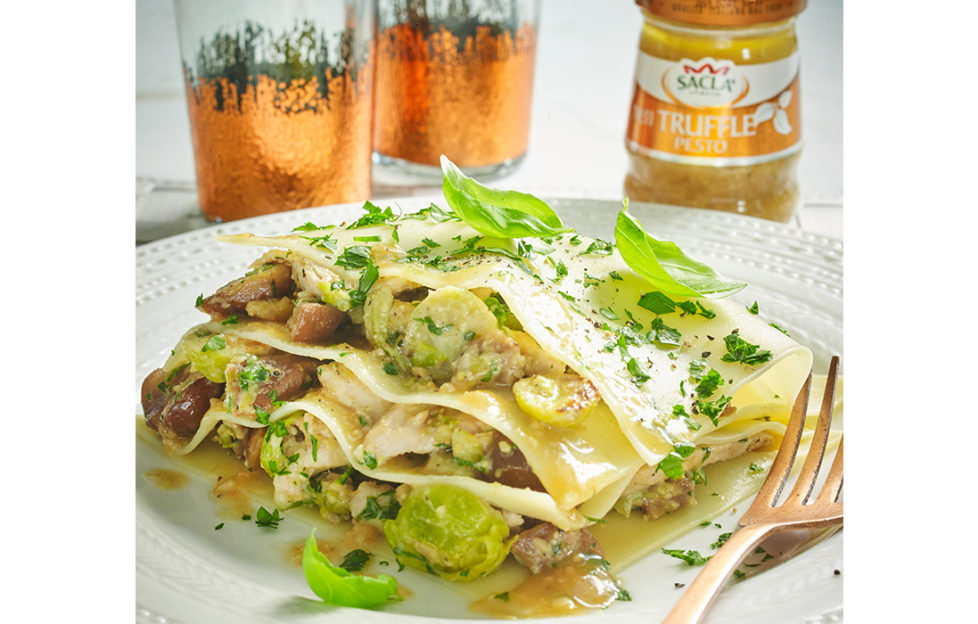 Trukey lasagne with sacla truffle pesto