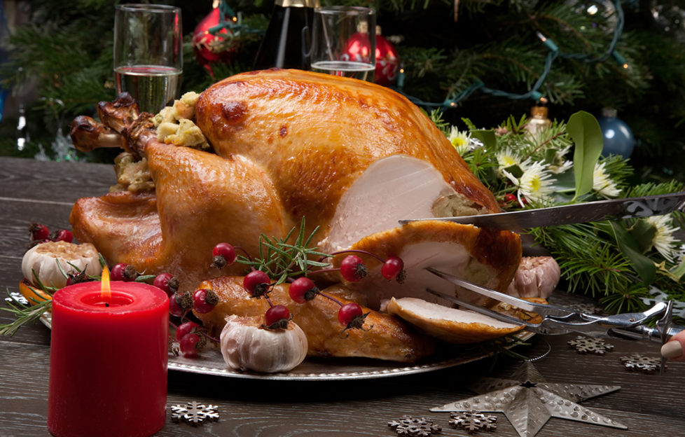 Christmas dinner, carving the turkey