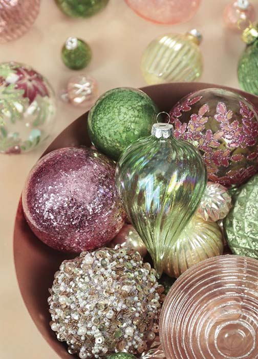 Dobbies baubles in greens and pinks