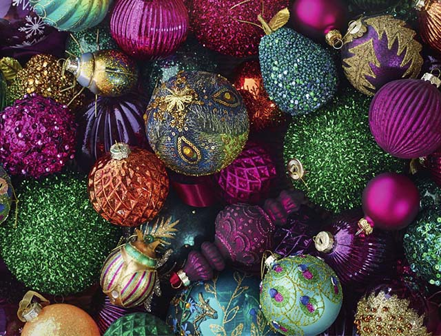 A selection of baubles in jewel colours from Dobbies