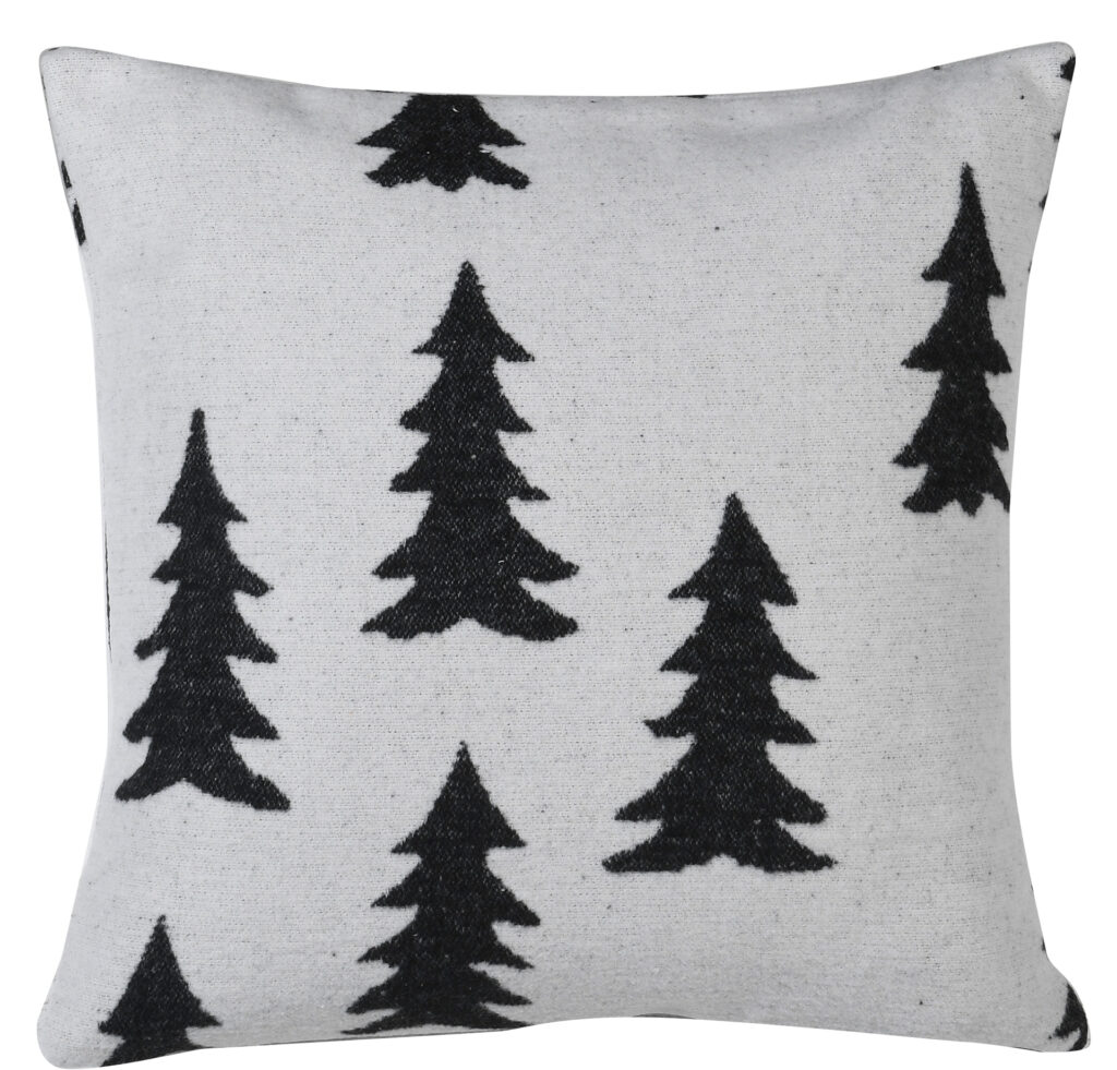 Cream cushion cover with black Christmas trees woven in