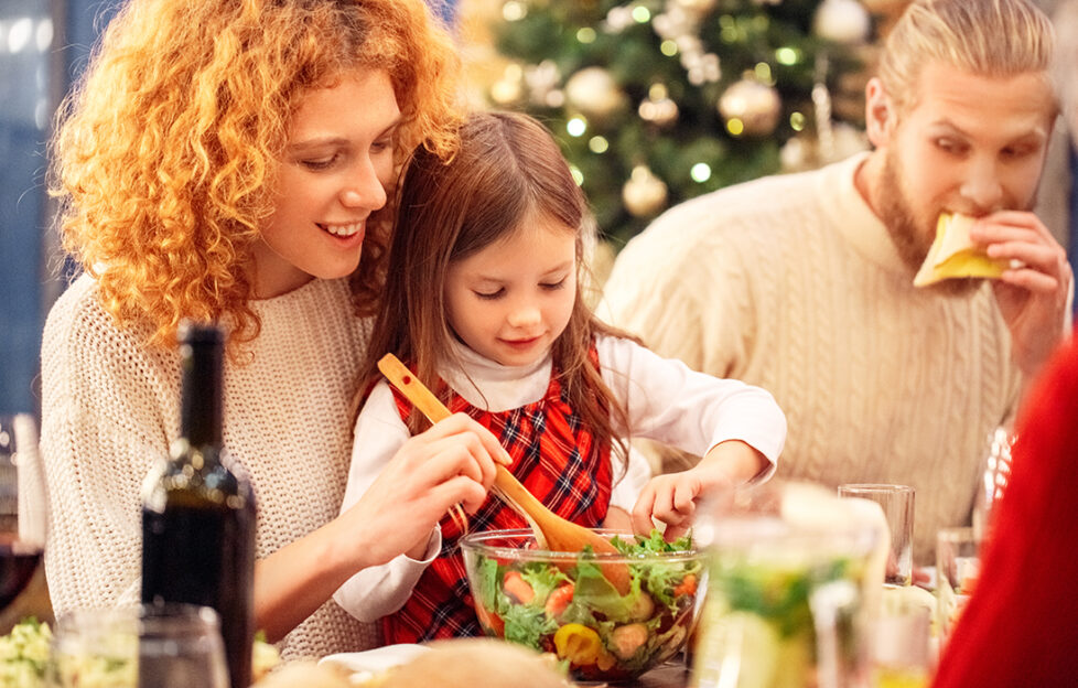 Family preparing and eating vegan Christmas dinner selection Pic: Shutterstock