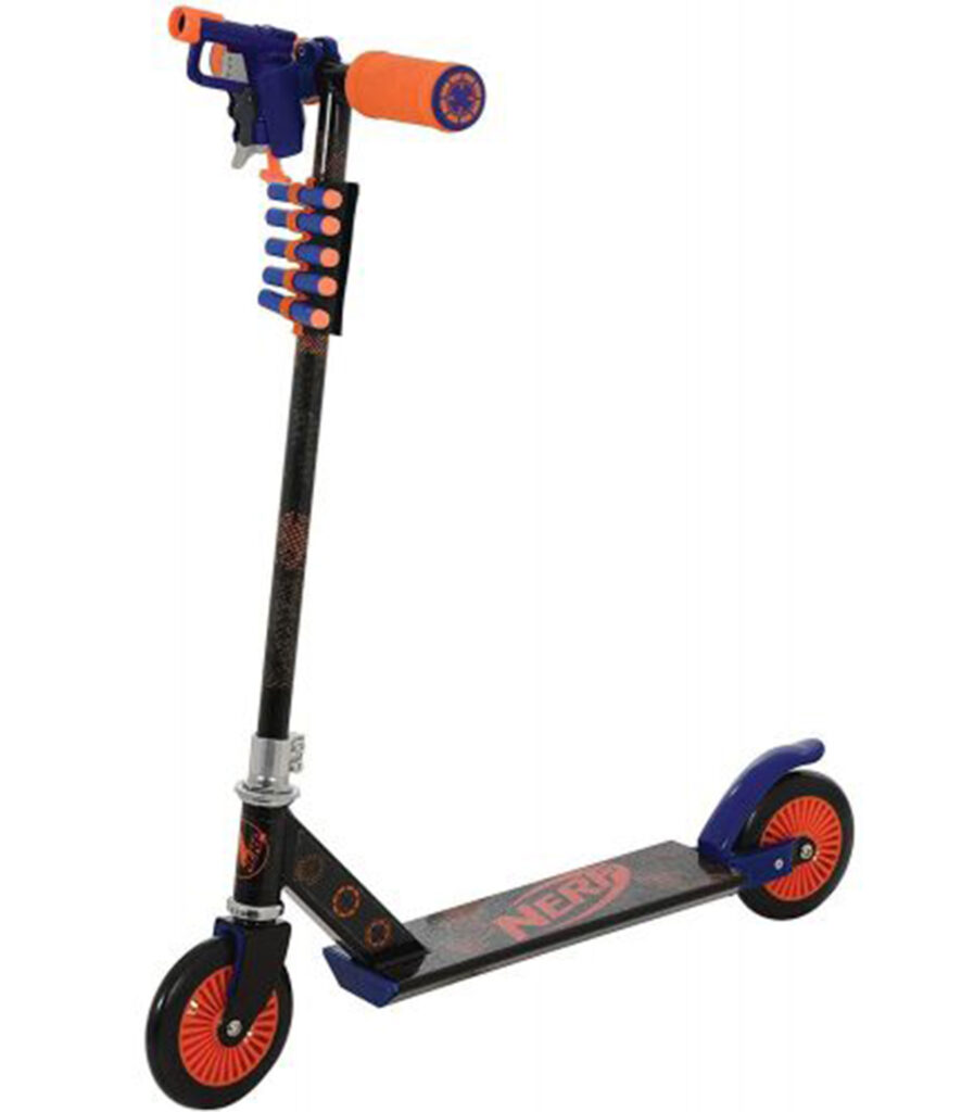 scooter with firing attachment on handlebars and foam bullet holder