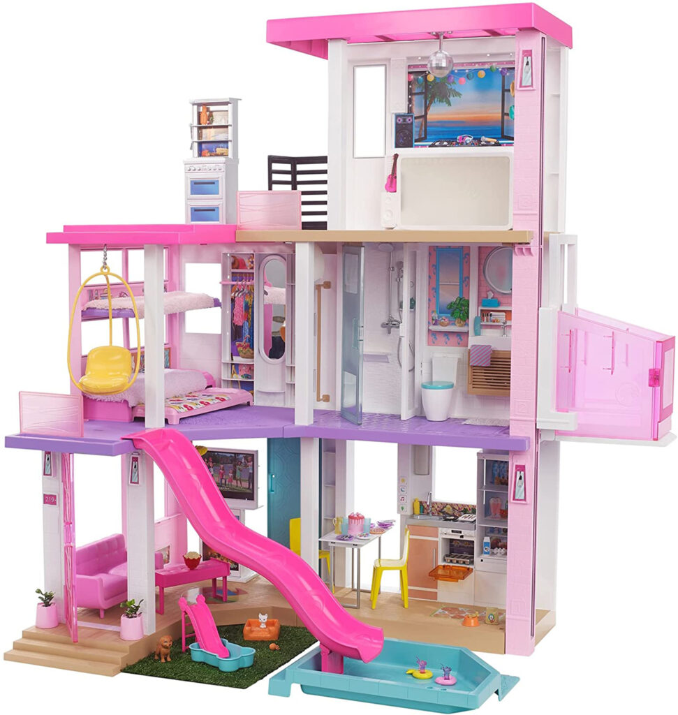 Plastic Barbie doll's house on 3 floors with slide into pool