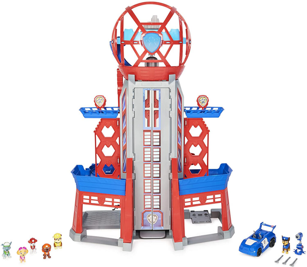 Plastic tower with wheel at top, tiny Paw Patrol characters and a vehicle
