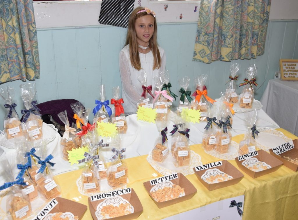 Isla McShannon, 10, helped to sell her granny Margaret McShannon's tablet, in various interesting and delicious flavours. 50_c39crafters05_kintyre tablet