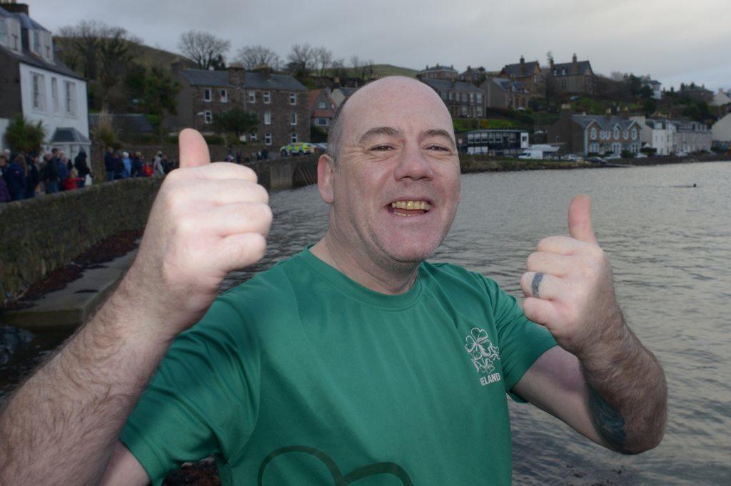 Stephen McCosker was all smiles before his swim.  25_c522018dip08_Stephen_McCosker