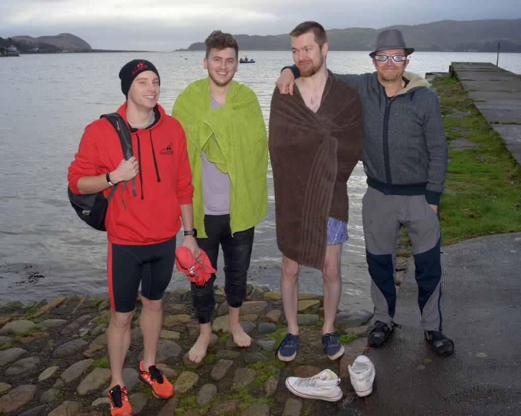 Craig Armour, Luke Angus, Daniel and David Fee before the dip. 25_c522018dip09_Craig_Armour_Luke_Angus_Daniel_&David_fee