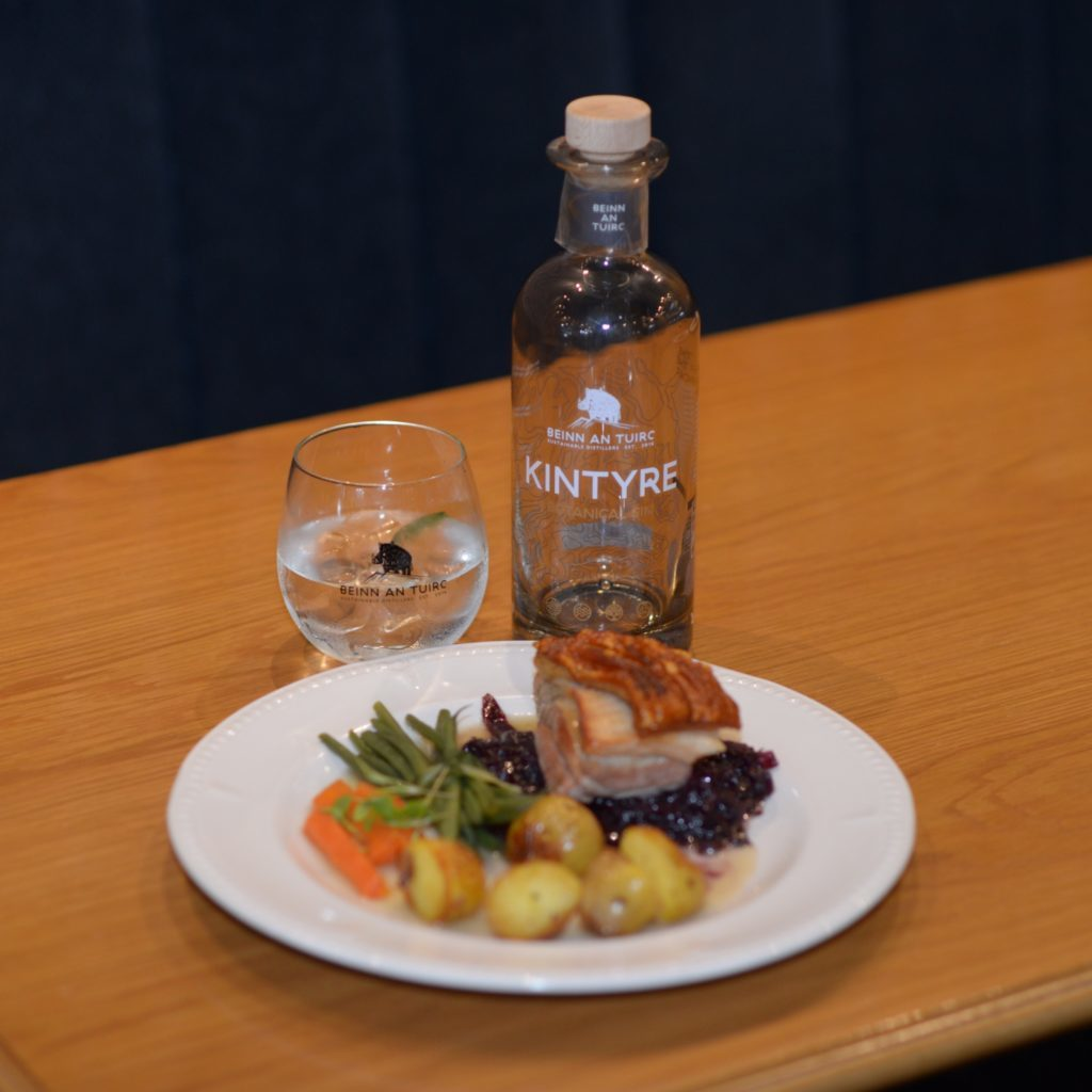 The main course: Slow braised pork belly with juniper, red cabbage, glazed carrots, green beans and baby roast potatoes accompanied by Kintyre gin with Fever Tree's  tonic with Fever Tree's Mediterranean tonic.