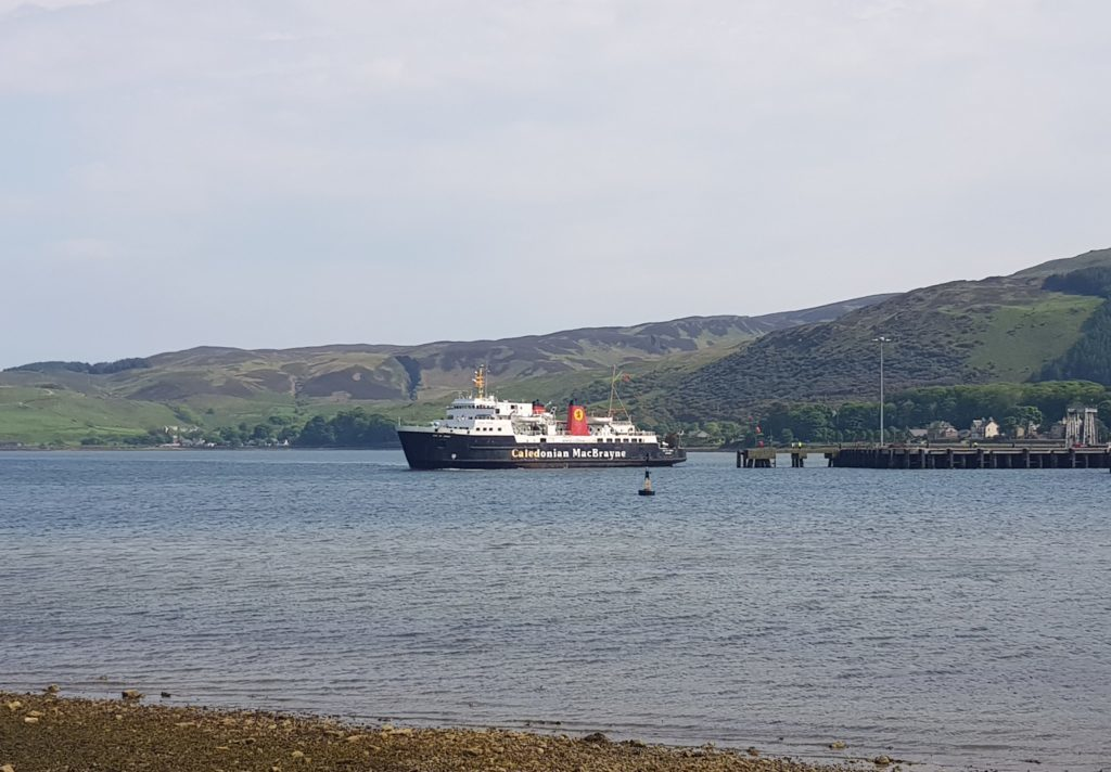 The ferry berthed beside Campbeltown's new quay.