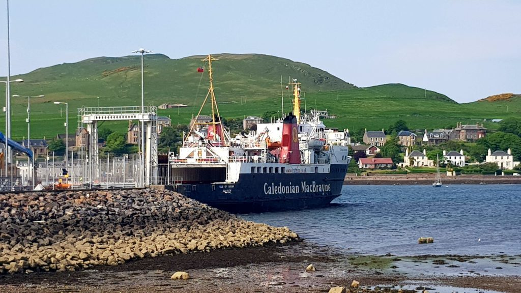 The MV Isle of Arran left the harbour after picking up a fresh set of passengers.