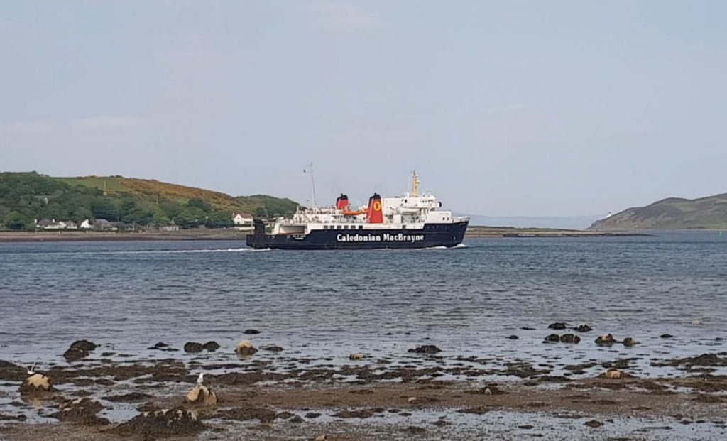 The ferry left Campbeltown Loch shortly after arriving, carrying passengers back to Ardrossan.