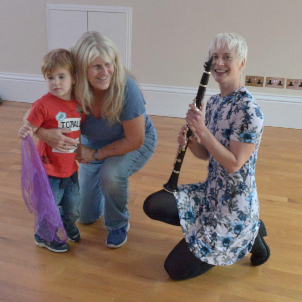 Joanna Nicholson demonstrates her clarinet.