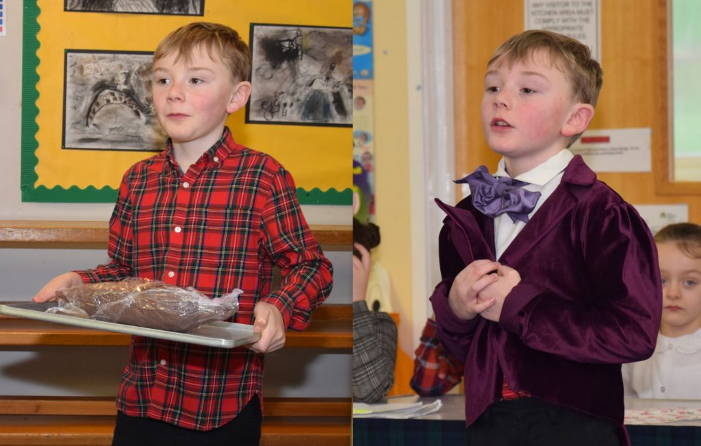 A change of clothes transformed P5 George into Rabbie Burns.