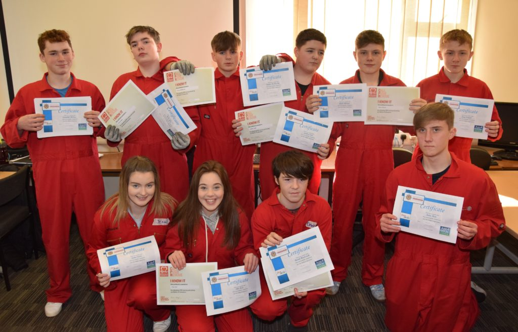 With their certificates, back row, from left: Campbell MacCrae, Arron Glen, Conner Mcmurchy, Jordan Todd, Glynn Harvey and Greg Sargent. Front row, from left: Jenny Souden, Ellie Hart, Daniel Blackstock and Aiden Hart.
