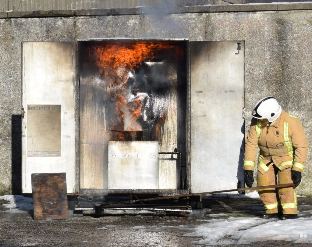 The students had to 'extinguish' a chip pan fire.