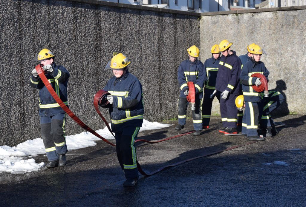 The pupils demonstrated a hose running drill.