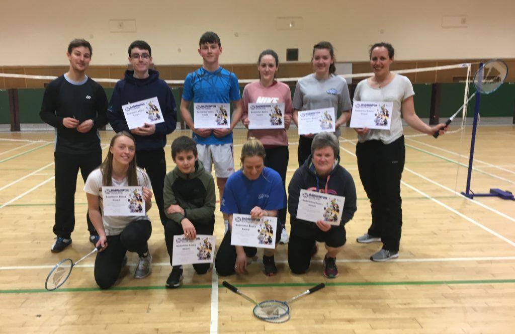 Volunteers at the badminton workshop.