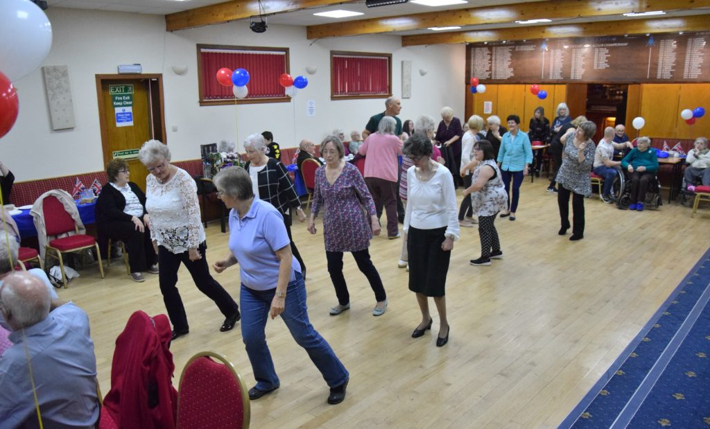 The dance floor was packed at the tea dance.