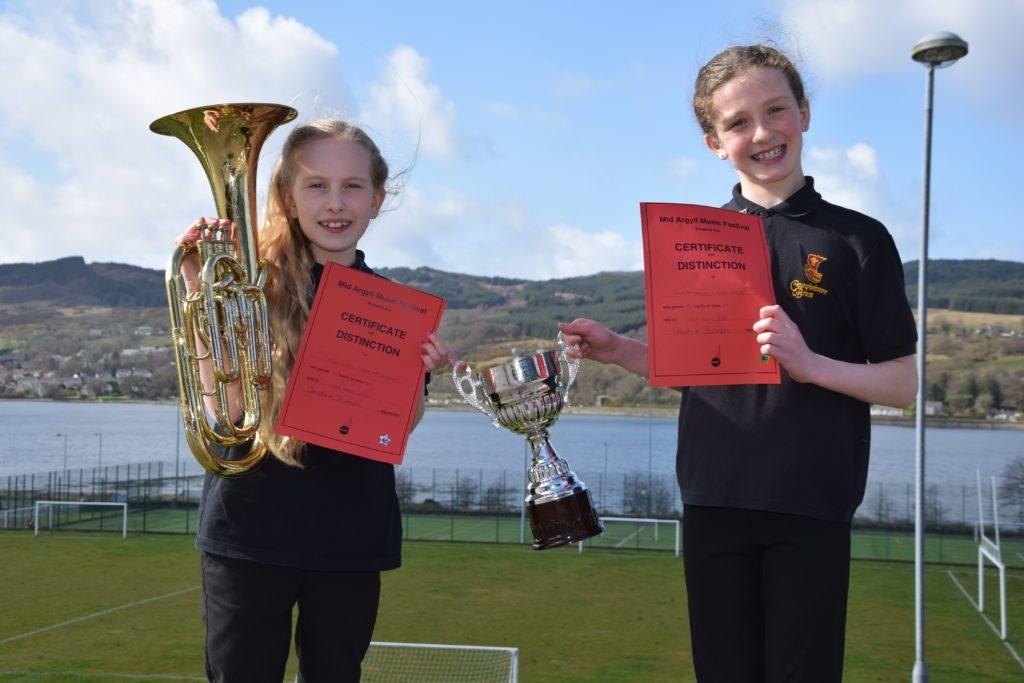 Annie Watson and Cara McFadzean won the trophy for primary instrumental duet.
