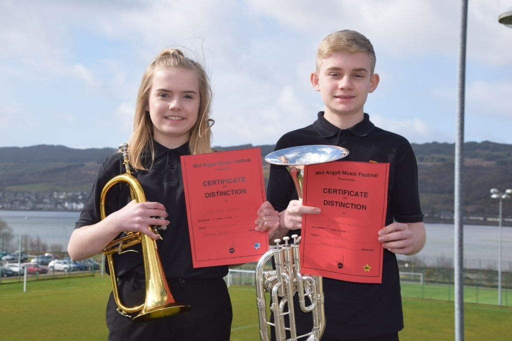 Jack and Rona Campbell took first place in the secondary instrumental duet class.