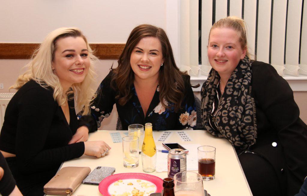 Siobhan McDonald, Fiona Mitchell, pipe major of Kintyre Schools Novice B pipe band, and Carlyn MacMillan.