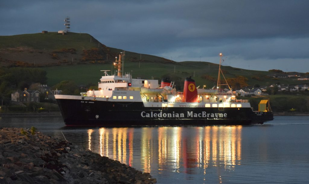 The MV Isle of Arran docked at Campbeltown New Quay.